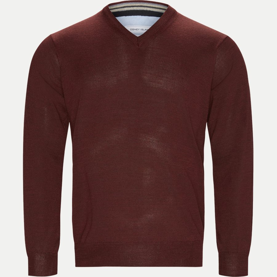 SMARALDA - Smaralda V-Neck Striktrøje - Strik - Regular - BORDEAUX MEL - 1